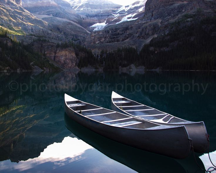 Canoes at Lake O'Hara, Yoho National Park, British Columbia, Canada