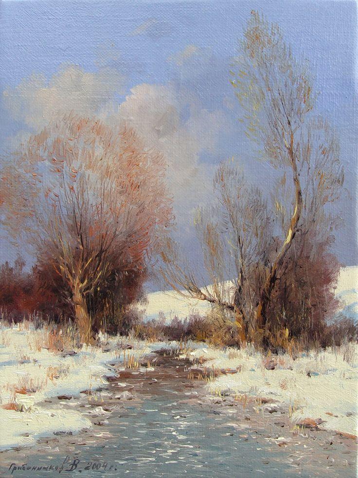 """художник Василий Грибенников """"Речка ожила"""", 2003"""