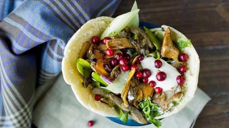 Lag kebaben med en ny vri inspirert av høsten med både lam, tyttebær og skogssopp. Mildere enn en vanlig kebab, men varmende og god på kjølige høstkvelder.