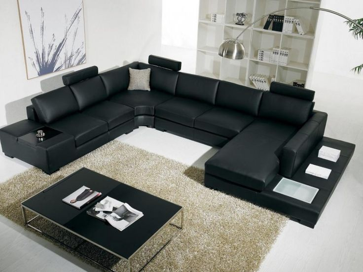 Chesterfield Sofa Contemporary Black Leather Sofa Bed with Rectangle Black Coffee Table closed to Large