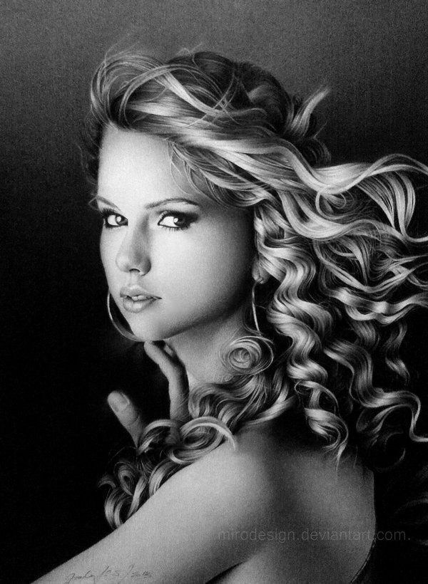 TAYLOR SWIFT - Taylor Swift pencil portrait. Country singer Taylor Swift as depicted in a pencil portrait sporting her previous long curls and drawn with strikingly beautiful eyes.