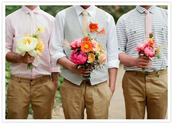 vibrant bouquets: Flowers Bouquets, 3 Boys, Wedding Photography, Neon Flowers, Groomsmen Hold, California Dreams, Men Ties, Grooms And Groomsmen, Bridesmaid Bouquets