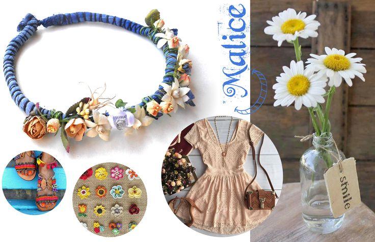 Corona corchete para recoger el cabello; obtenido con tela, lana, flores fintos y alambre de metal. colores: gris, azul y rosa diámetro: 20 cm Esta creación es totalmente respetuosa del medio ambiente. -------------> Sigueme en la red: https://malicecraft.wordpress.com/ -------------> y en fb: https://www.facebook.com/MaliceCrafts
