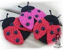 Crochet PATTERN, Applique Ladybug, Patch, Brooch, Application Ladybird, DIY Pattern 157