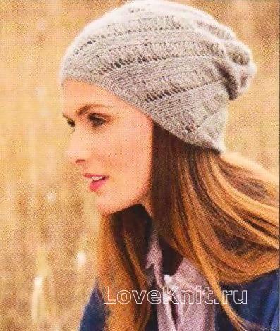 Спицами женская шапка с диагональным узором фото к описанию