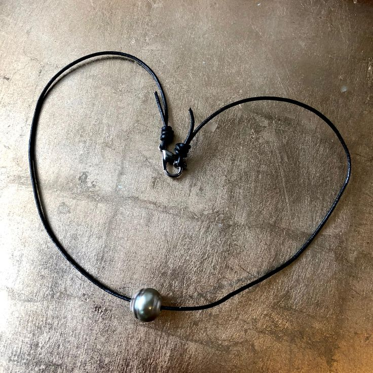Tahitian Pearl necklace - Black leather cord necklace - Single floating Tahitian Pearl - Gift for Her - Exotic Birthday Gift