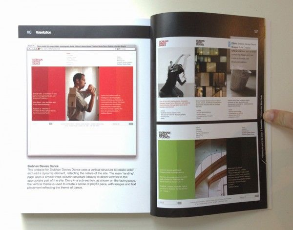 Bullet's design for Siobhan Davies Dance's website as featured in a book on grids