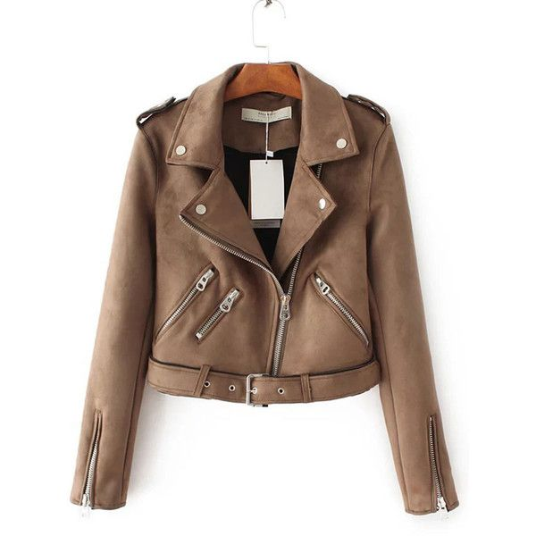Lapel  Zips  Belt  Plain Biker Jacket (€64) ❤ liked on Polyvore featuring outerwear, jackets, brown faux-leather jackets, brown jacket, moto biker jacket, biker jackets and long moto jacket