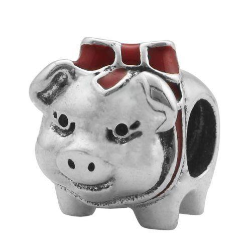 Esmalte De Cerdo Con Moño De Plata 925 encanto grano ajuste pulsera hágalo usted mismo Regalo de Navidad