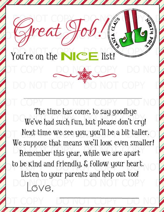 Printable magic elf goodbye letter 2 or more by for They say i say templates answers