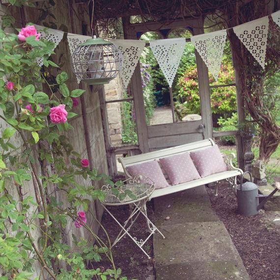 Natural wedding bunting in neutral colours ikat by BaloolahBunting
