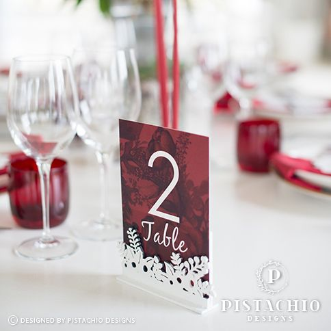 Marsala wedding table number by www.pistachiodesigns.co.za