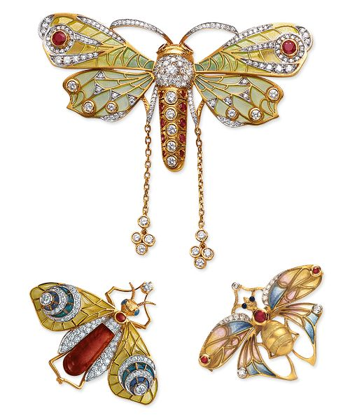 Masriera Insect Brooches. Photo courtesy Cellini Jewelers  Insect motifs encrusted with diamonds, rubies and sapphires, with masterfully rendered transluscent enamel wings (like stained glass windows); in 18-karat yellow gold.