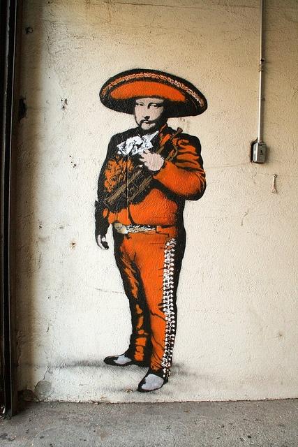 Mariachi in Brooklin. By street artist Nick Walker.