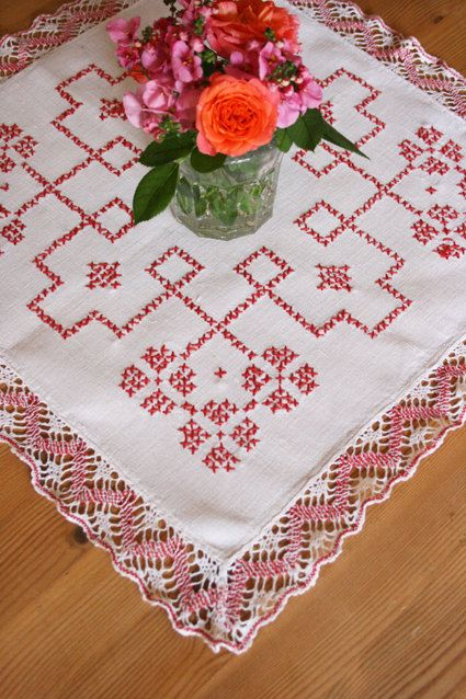 French Vintage Red Crossstitch Table Mat with by Chezpetitpica, €7.00