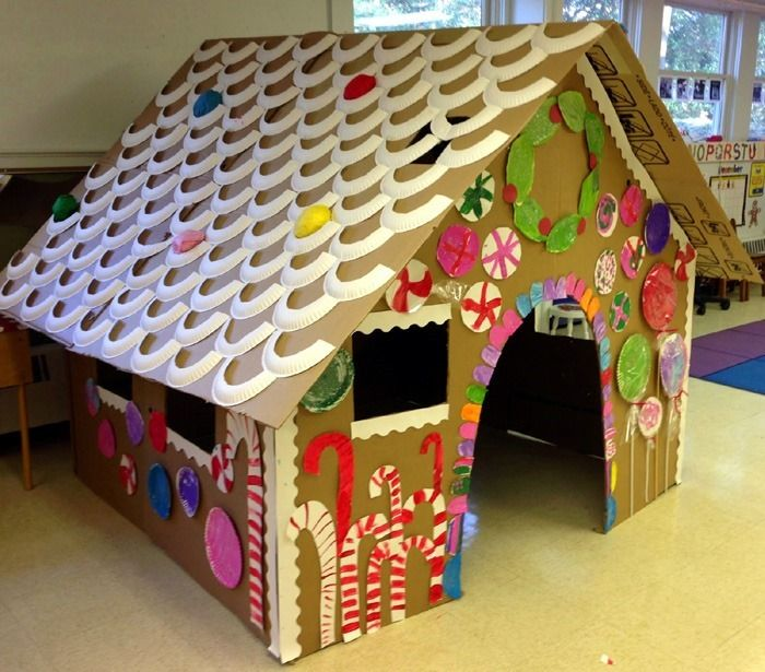 This life size cardboard gingerbread playhouse is a perfect kids crafts project for the Winter vacation. Get them to make one this week. Howto.