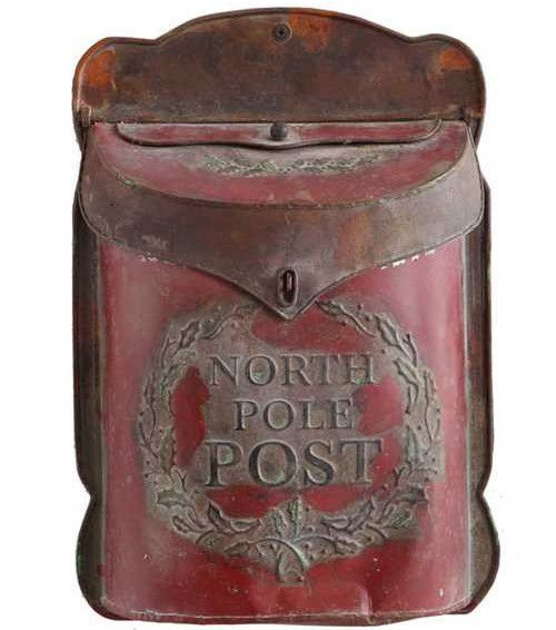 Santa's North Pole Mailbox for Letters | Antique Christmas Mail Post - TheHolidayBarn.com