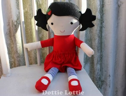 Fabric Doll with black hair and red dress