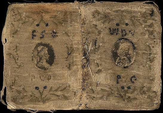 "[Bindings]. Late 18th century embroidered silk binding, on frontcover the initials ""WDV PVO"" (Willem De V Prins van Oranje) and mounted oval stipple-engr. portrait in centre, on backcover ""FSW (PVO)"" and similar portrait of Frederica Sophia Wilhelmina (his wife) of Prussia. - ON: Toilet almanach voor 1799. N.pl., n.publ., (1798), 16p., 3 fold. calendar lvs., each w. 4 months, 12 miniature engr. illustrations to the months, orig. printed limp boards, 16mo. - Silk and embroidery soiled and…"