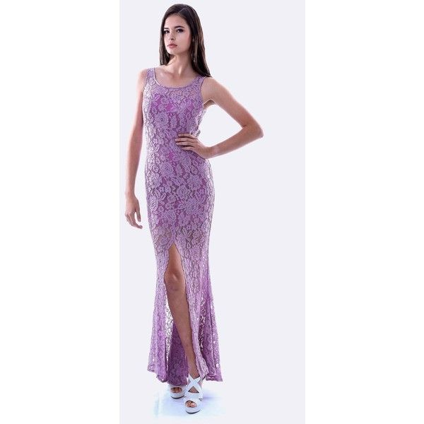 SKIVA Lace Evening Dress with Split ($205) ❤ liked on Polyvore featuring dresses, light purple lace dress, lavender cocktail dress, lavender dress, lace cocktail dress and lacy dress