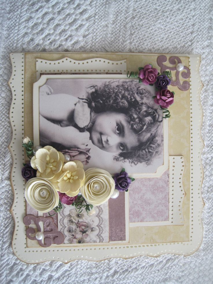 "Handmade card With handmade ""snurre"" flowers"