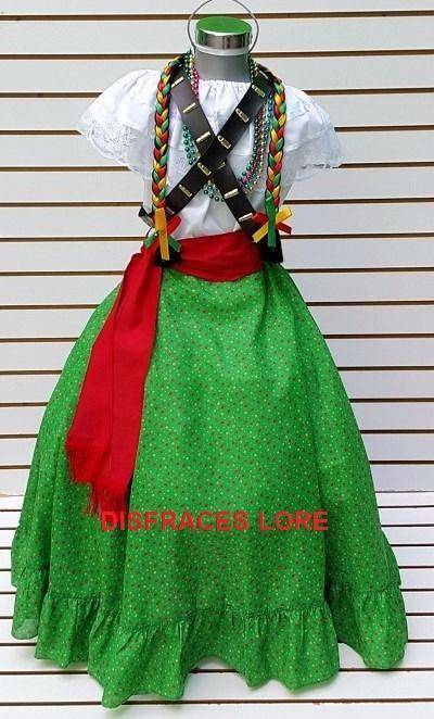 vestuario disfraz falda adelita blusa adelita rebozo niñas