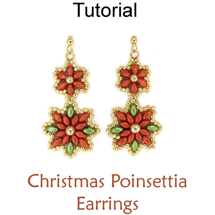 New Beaded SuperDuo Christmas Poinsettia Earrings Christmas Holiday Beading Pattern Tutorial by Lane Landry with Simple Bead Patterns