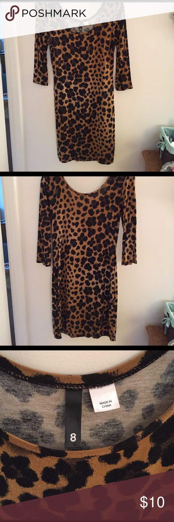 Body Con Animal Print Dress Animal Print Body Con Dress. It it meant to be tight. I personally wore it for Halloween with tights and animal ears. It is a size 8 from H&M H&M Dresses Mini