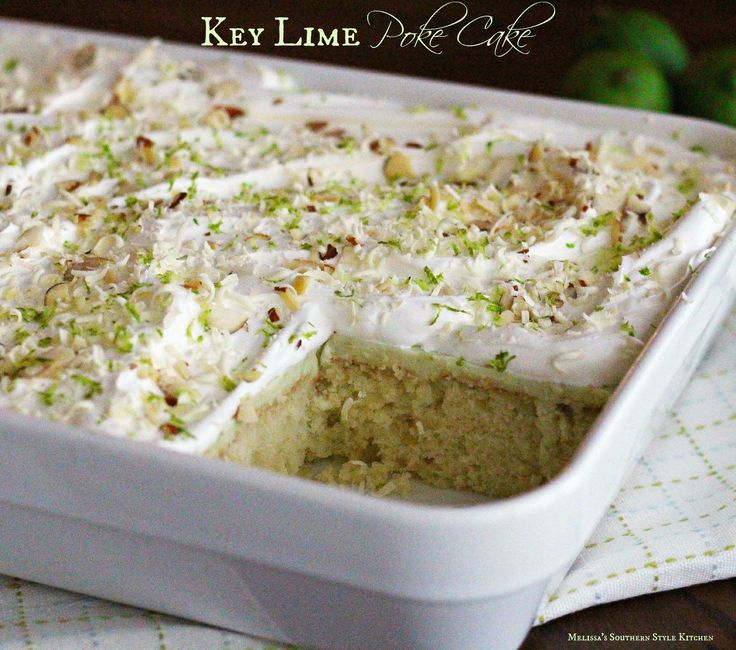 For a taste of the Florida Keys try this Key Lime Poke Cake filled with the bright flavor if lime juice and topped with whipped cream and lime zest.