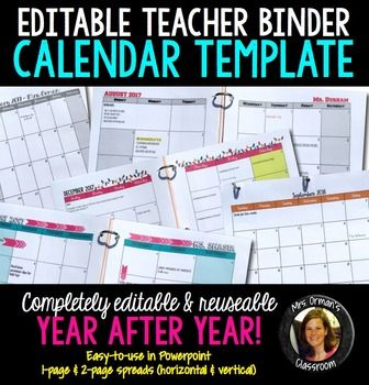 Editable Calendar Template for your Teacher Binder - don't wait for others to update their calendars; create your own easily!