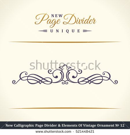 New Calligraphic Page Divider and Element of vintage ornament. Elements for retro logo and vector crest, decorative border line