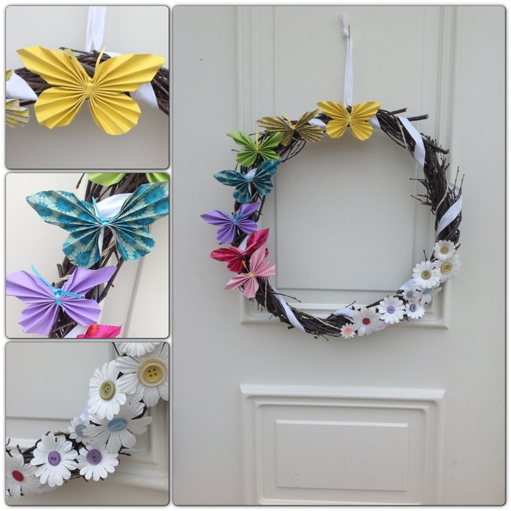 DIY - spring wreath with paper butterflies