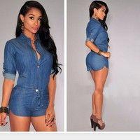 Wish | Women Fashion Short Sleeve Deep V-neck Denim Shorts Jeans Jumpsuit Women