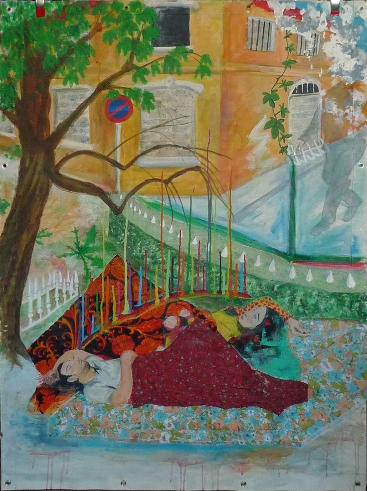 """""""corps et ames"""" ©Zabou M.  acrylique et tissus marouflés sur toile"""