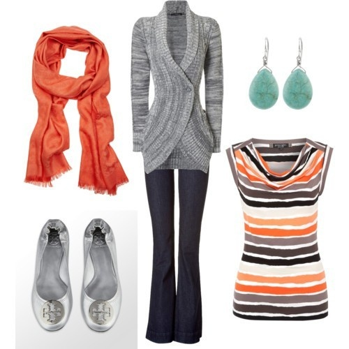 LOOK - Navy pants, Gray cable shawl cardi, Orange/blue/gray/white striped ss top, orange scarf, silver Tory Burch flats, turquoise and/or coral jewelry