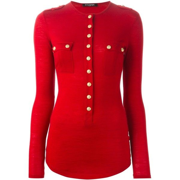 Balmain Sweater With Golden Buttons and Small Pockets (760 CAD) ❤ liked on Polyvore featuring tops, sweaters, red, crewneck sweater, military style sweater, long sleeve crew neck sweater, military sweater and military wool sweater