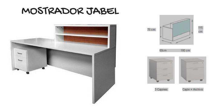 Mostrador de recepción, puede combinar mobiliario auxiliar para conseguir más espacio y orden