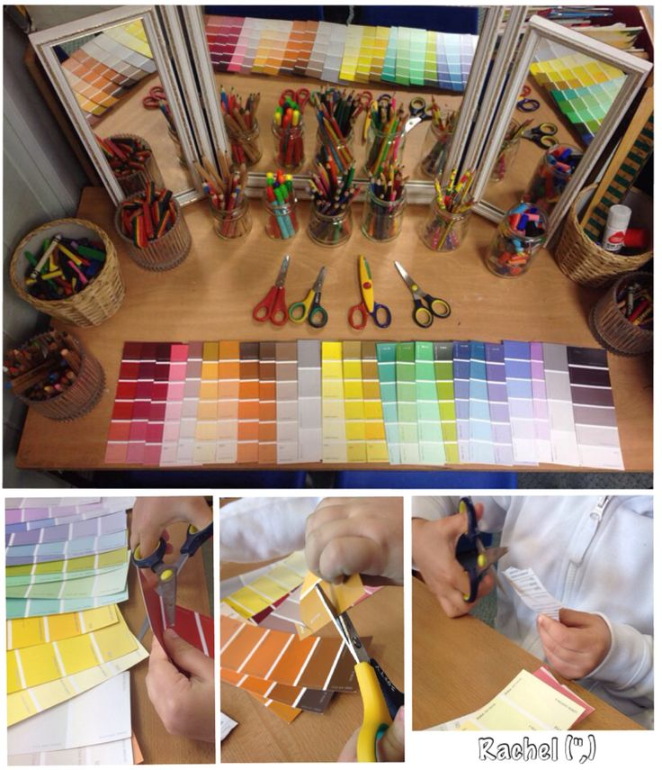 Scissor skills with paint chart samples - from Rachel https://www.pinterest.com/rdfreire/atelie-luz/