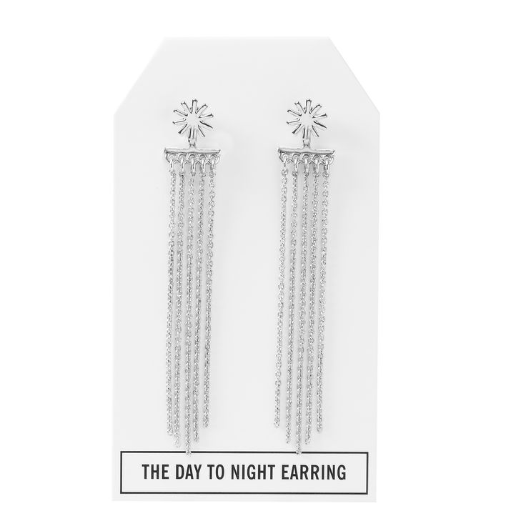 Twilight Day to Night Earring in Silver - available in gold, silver, and gunmetal. $28. #silverearrings #silverjewelry #convertiblejewelry #fancyearrings #daytonight #daytonightearrings #jewelrygift