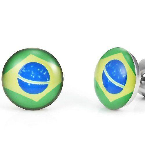 R&B Joyas - Pendientes de hombre, pendientes de botón copa del mundo fútbol, bandera brasil, acero inoxidable, color plateado / amarillo / verde / azul: Amazon.es: Joyería