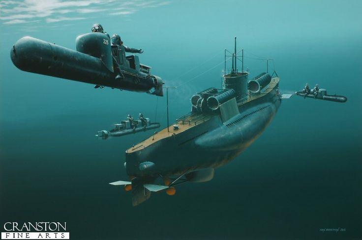 Marinai della x Mas mentre prendono i loro maiali da un sottomarino, da trasporto, della R.M..