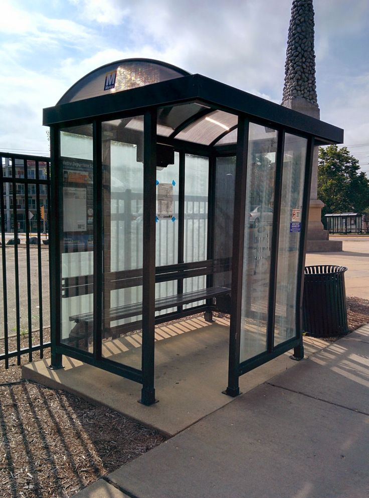 Just a simple bus shelter in Madison, Wisconsin. However, this makes all the difference in cold weather climates.
