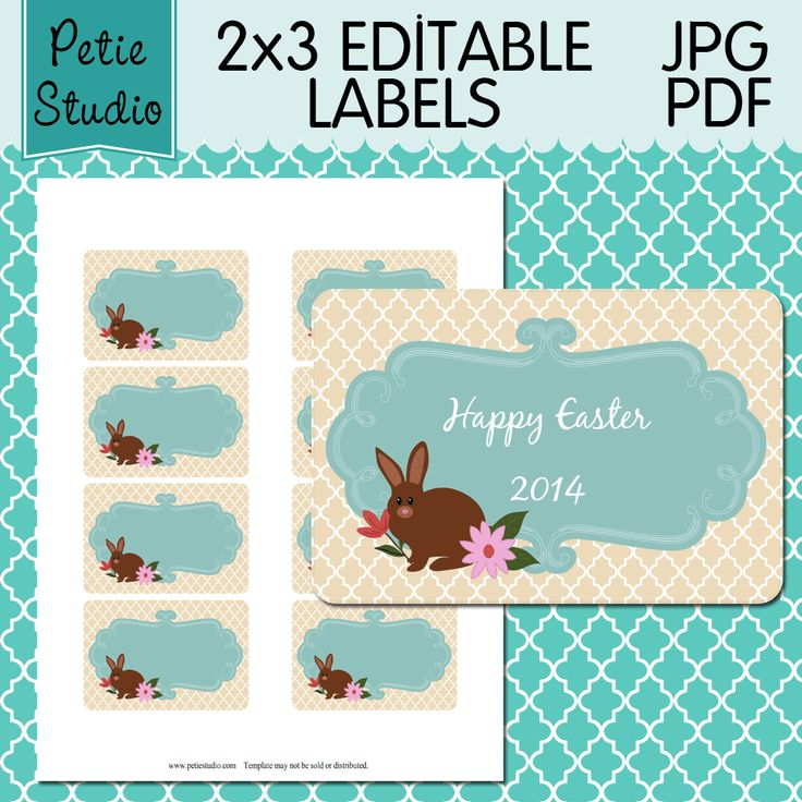 83 best editable labels images on pinterest printable tags free editable easter bunny gift tags print on 8x11 sticker sheets and make adorable easter gifts negle Image collections