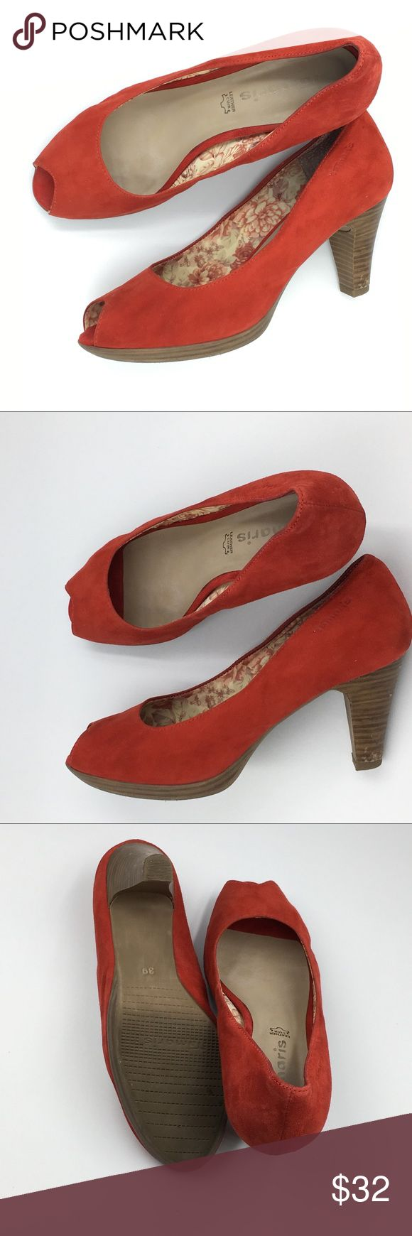 Tamaris red leather peep-toe heel pumps Worn 3 times, indise. Very good condition. Bought in France. Leather inside, outside, rubber sole(anti adherence). Gorgeous red shade.   Size US 8.5/ EU 39. Good for a wider foot as well.  Make a reasonable offer and I'll either counter, accept or decline. No trades.  Please check out the rest of my closet, I have various brands. Tamaris Shoes Heels
