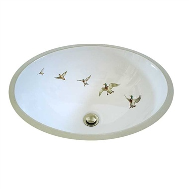 Ducks In Flight Design Hand Painted Bathroom Sink. Great For A Cabin In  Woods Or