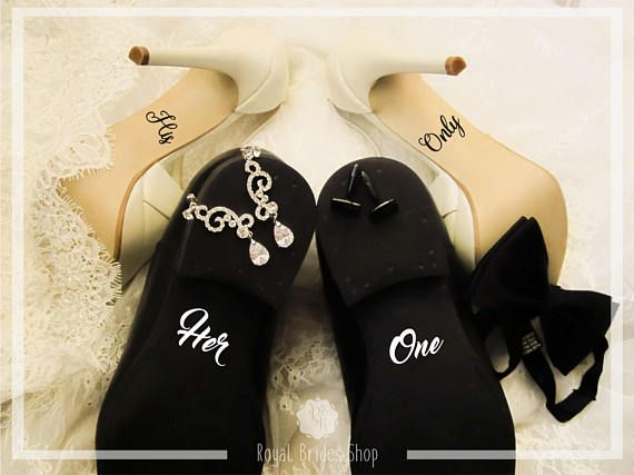 Check out this item in my Etsy shop https://www.etsy.com/uk/listing/526382459/custom-wedding-shoes-decal-set-her-one