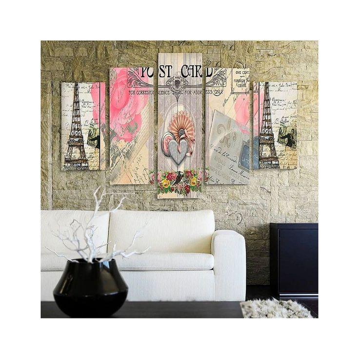 Composition 5 Tableaux De Type Carte Postale De Paris Taille
