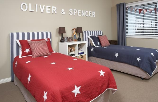 Theres no doubt as to who sleeps here and with subtle Dulux Self Destruct on the walls and gorgeous bedding from Adair Kids