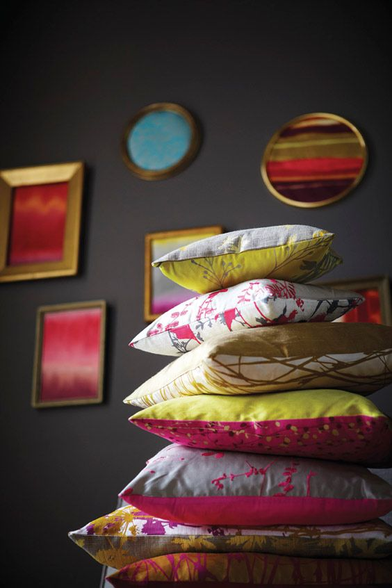Kallianthi by Clarissa Hulse for Harlequin. Love the bold Indian Summer shades against the deep grey. Adds a warm, personal touch.