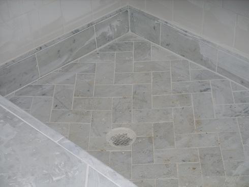 Herringbone Carrara Shower Floor Bathroom Makeover
